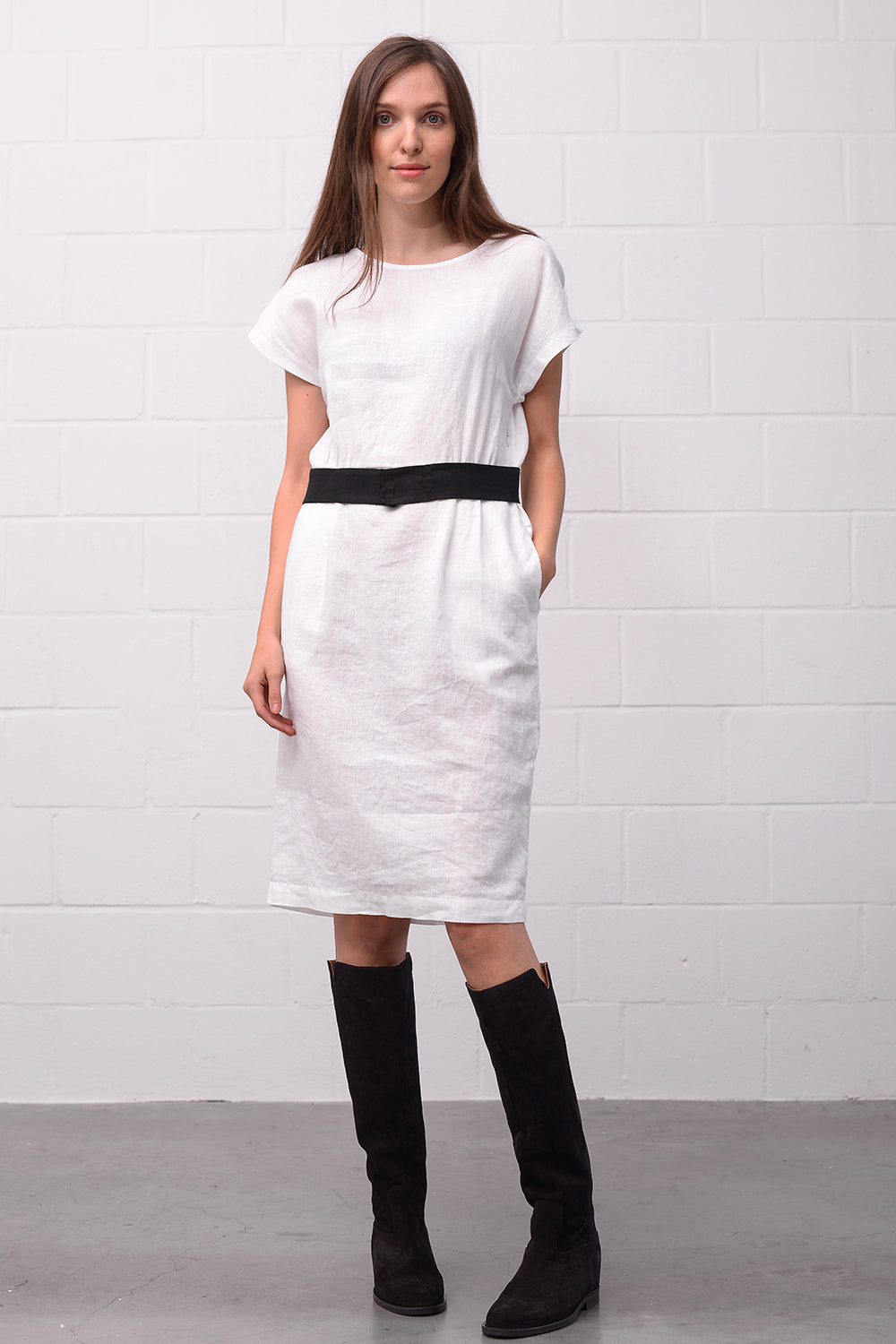 Ava Linen Dress - bianco
