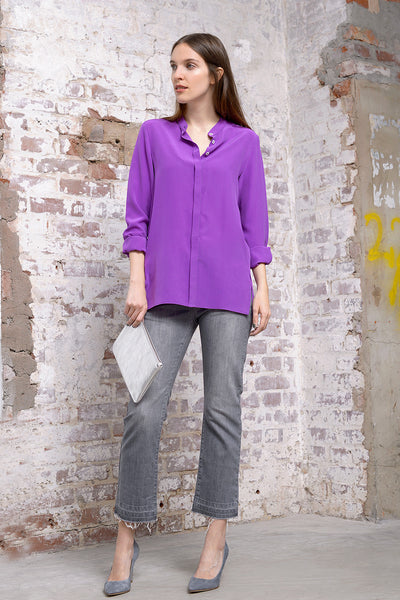 Camille Silk Blouse - cyclam