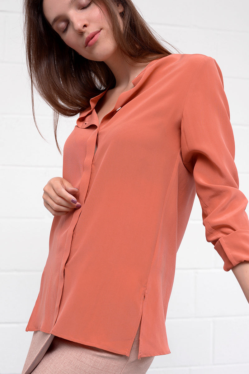 Camille Silk Blouse - flamingo