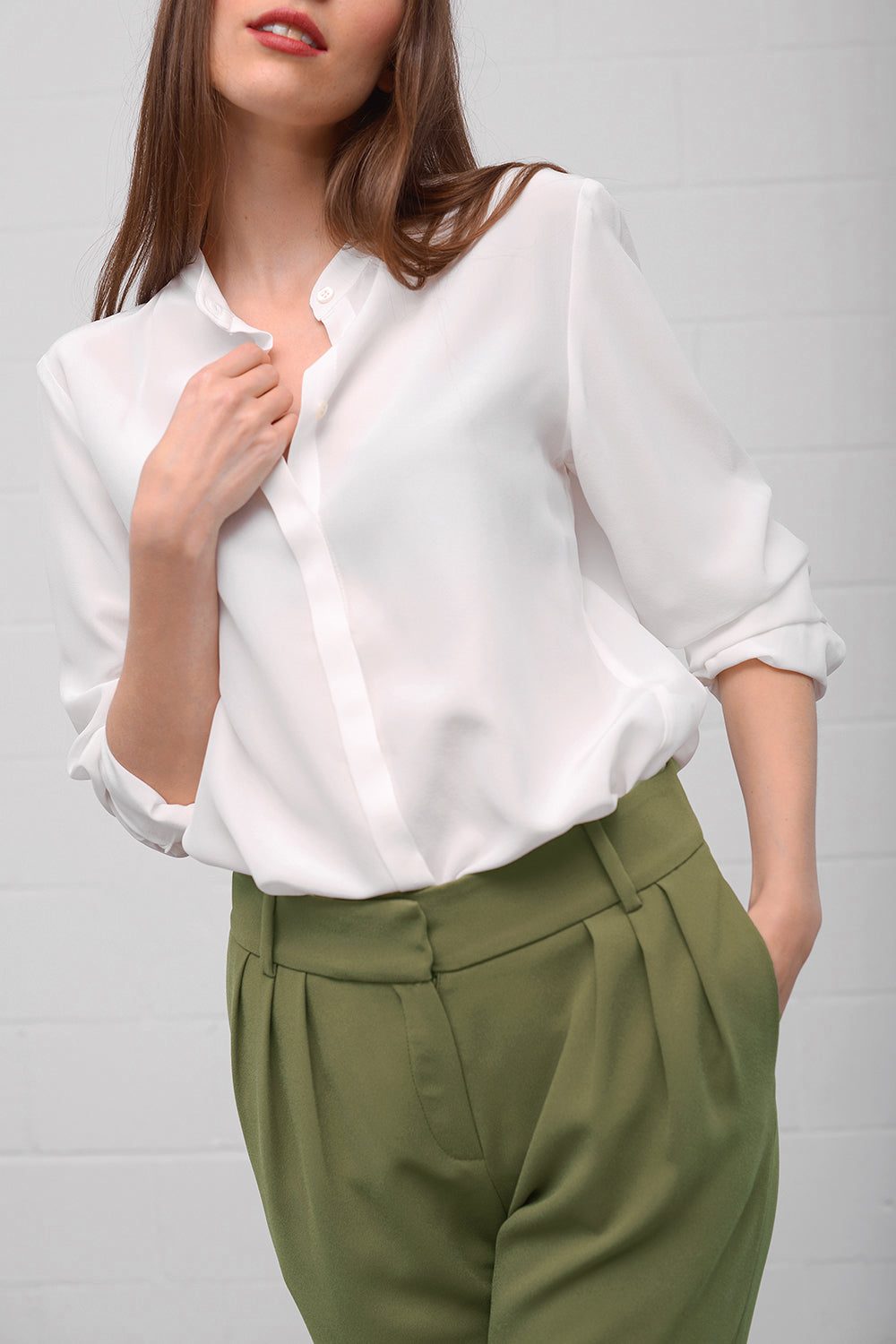 Camille Silk Blouse - latte