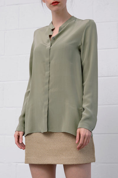 Camille Silk Blouse - salvia