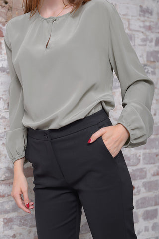 Casivo Silk Blouse - salvia