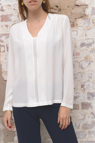 Carel Silk Blouse - latte