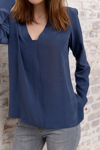Carel Silk Blouse - blue