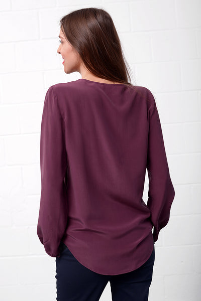 Casivo Silk Blouse - merlot
