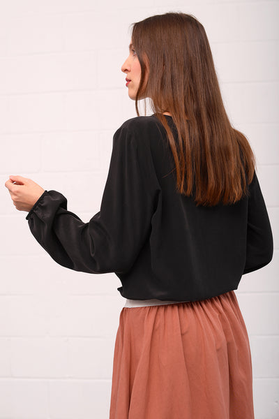 Casivo Silk Blouse - nero
