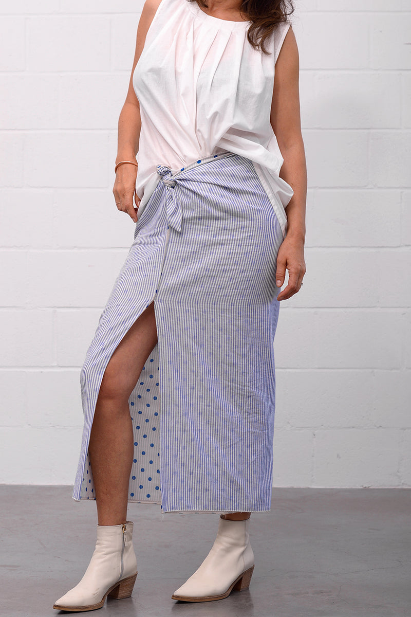 Galina Skirt - strippois blu