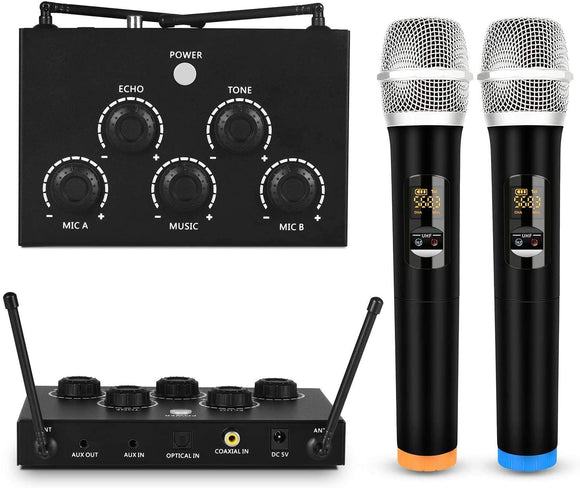 Rybozen Portable Karaoke Microphone Mixer System Set with Dual UHF Wireless Mic, 3.5mm AUX/Optical/Coaxial in Singing Receiver for KTV, Amplifier, Speaker