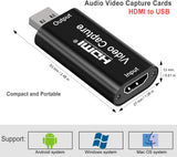 Audio Video Capture Cards HDMI Video Capture HDMI to USB, Full HD 1080p USB 2.0 Record via DSLR Camcorder Action Cam for Video Gaming, Streaming, Live Broadcasting and Facebook Portal TV Recorder