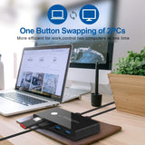 USB 3.0 Switch Selector, 2 Computer Sharing 4 USB Devices, Peripheral Switcher Box for Mouse Keyboard Scanner Printer PC, with One Button Swapping and 2 Pack USB 3.0 Cabler, Printer, Computer with One-Button Swapping and 2 Pack USB A to A Cable