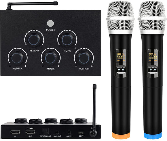 DIGITNOW!Portable Karaoke Microphone Mixer System Set, with Dual UHF Wireless Mic, HDMI-ARC/Optical/AUX & HDMI In/Out in Singing Receiver for Smart TV, PC, KTV, Home Theater, Amplifier, Speaker
