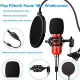 Rybozen Condenser Microphone Bundle Kit,Computer PC Cardioid Studio Mic Set with Mic Suspension Scissor Arm, Stand Shock Mount & Pop Filter for Instruments Voice Overs Recording & Broadcasting (Red)