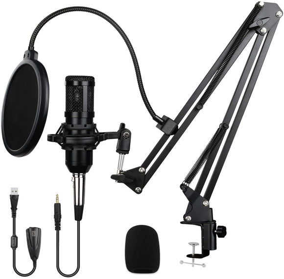 Rybozen Multipurpose Condenser Microphone Bundle Kit, Professional Cardioid Studio Mic Set with Mic Suspension Scissor Arm Stand Shock Mount for Recording Podcasting Karaoke Gaming Streaming YouTube (Black)