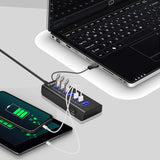 Rybozen Powered USB Hub 3.0, 7-Port USB Hubs with 4 USB 3.0 Super Speed Data Ports and 3 USB Smart Charging Ports,USB Splitter with LEDs On/Off Switch and Power Adapter for Keyboard, Mouse and Hard Drivers