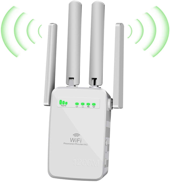 WiFi Range Extender,1200 Mbps Wireless Signal Repeater Booster,2.4 & 5GHz Dual Band Network,for WiFi Internet Connection , 2 LAN/Ethernet, 4 Antennas Coverage to 3000sq.ft & 32 Devices