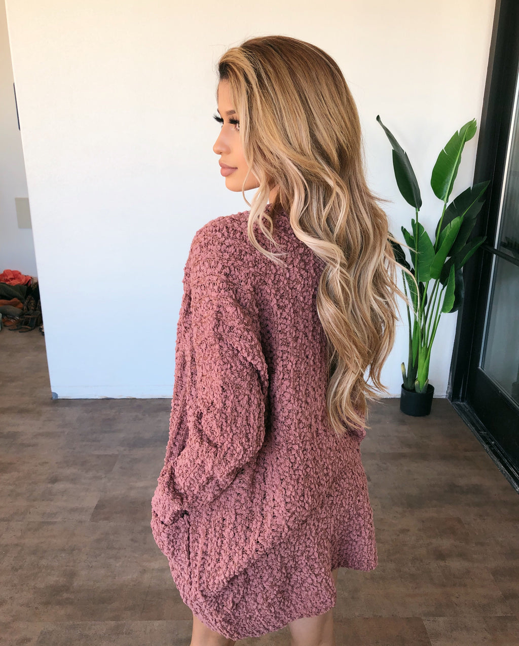 Melissa Knit Cardigan(Red Bean)