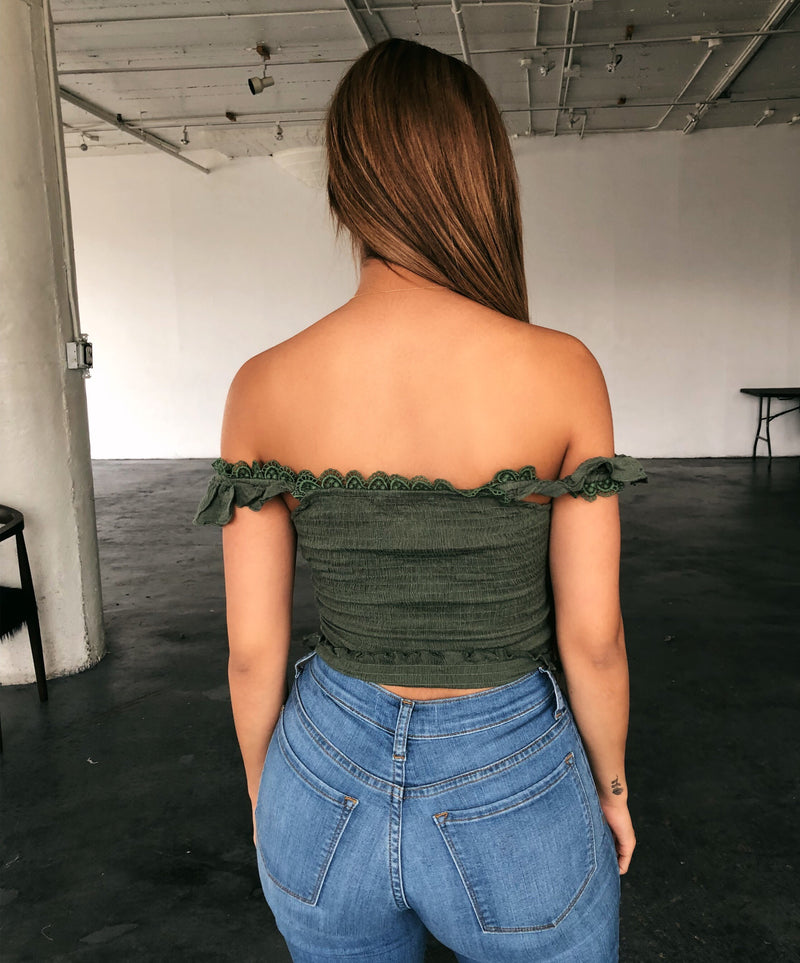 Ellen Off Shoulder Top(Moss Olive)
