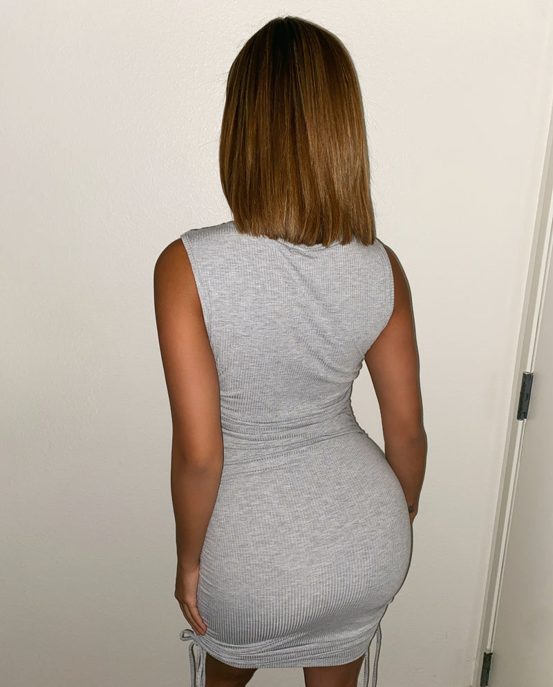 Mona Sleeveless Dress(Grey)FINAL SALE