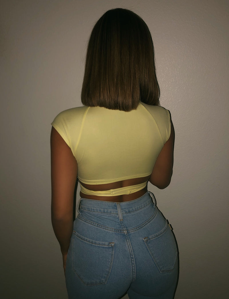 Angela Short Sleeve Top(Light Yellow)FINAL SALE
