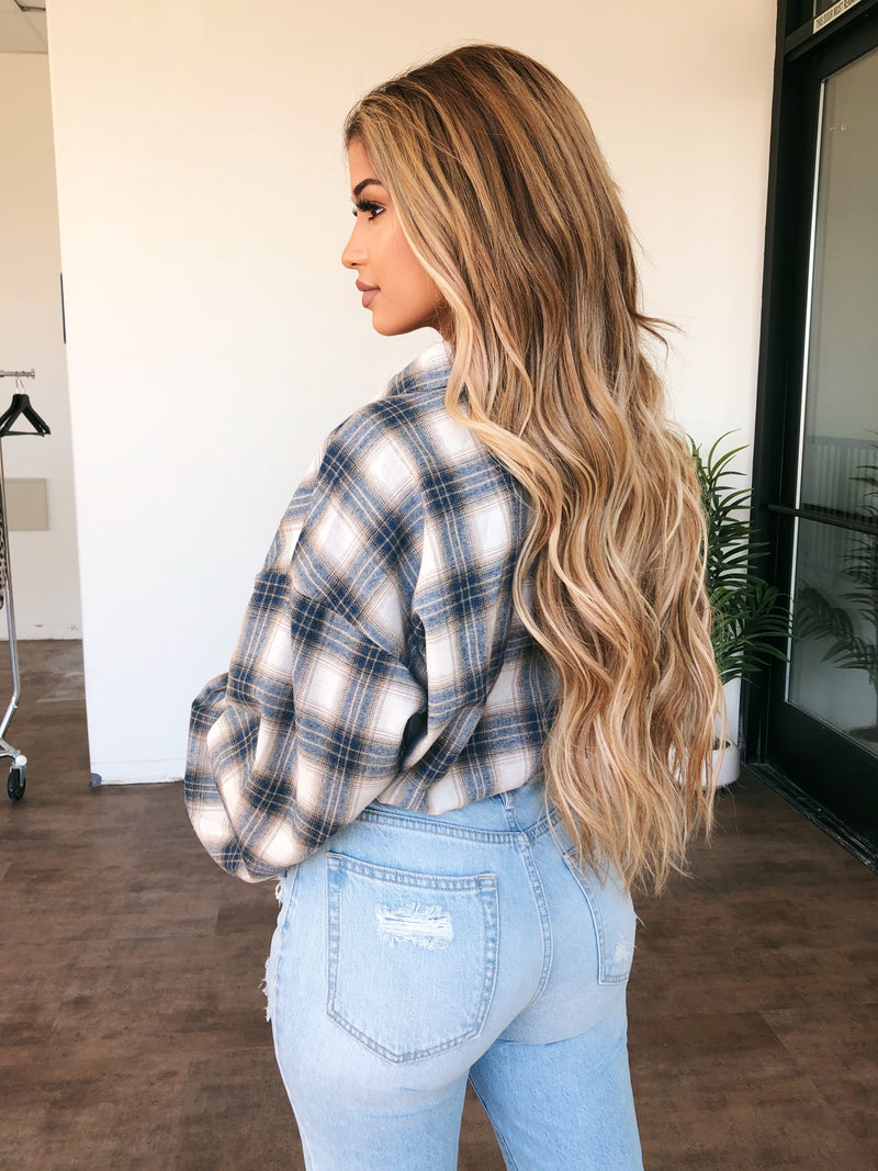 Briana Plaid Top(Beige/Navy)