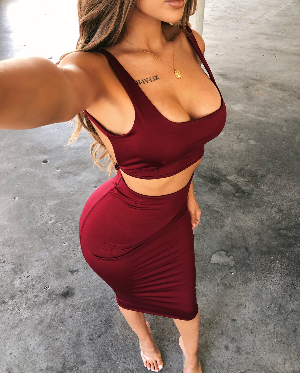 Pipper Cami Matching Set(Burgundy)
