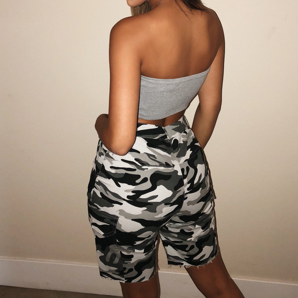 Kylee Camo Shorts(Grey) by Ootdfash