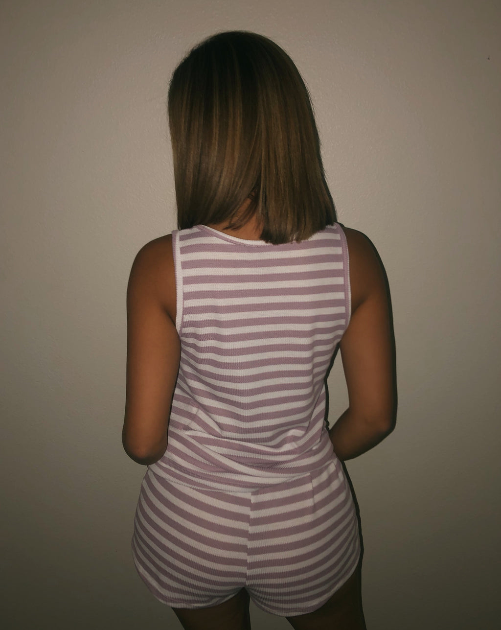 Charlotte Stripe Set(Mauve/Off-White)FINAL SALE