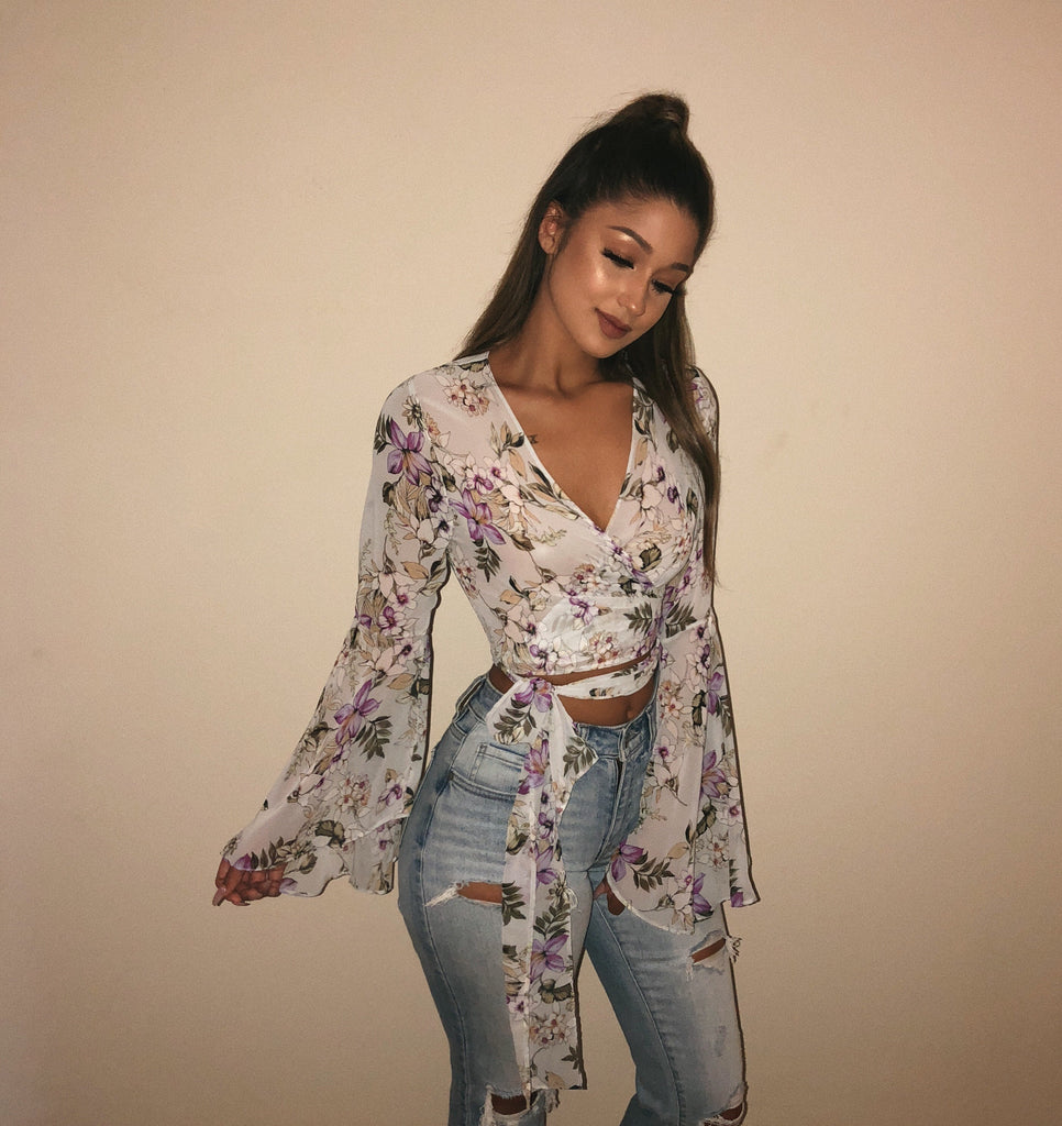 Daisy Floral Sheer Top(Blue)