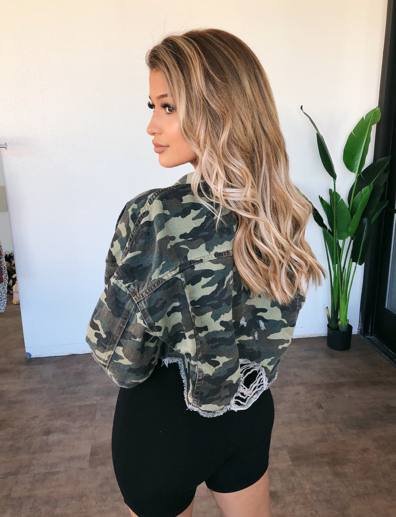 Karen Cropped Camo Jacket