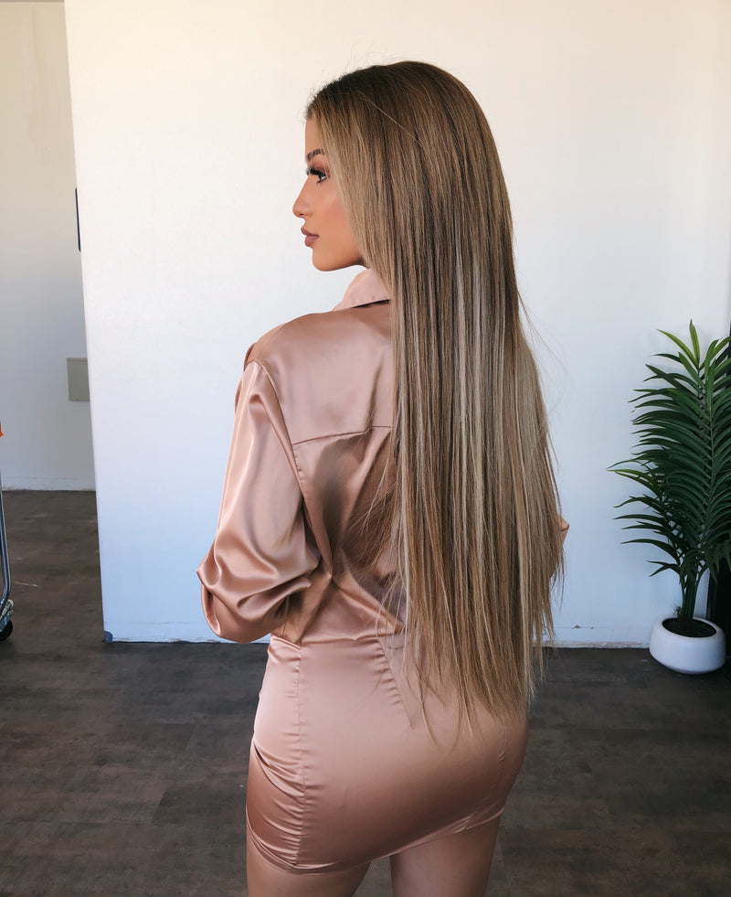 Ember Long Sleeve Satin Dress(Almond)