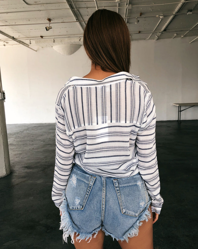 Octavia Stripe Top(White/Blue)