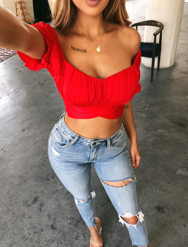 Lily Off Shoulder Top(Red)