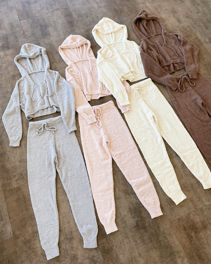 Sam Fuzzy Hoodie Set(Off White/Cream)