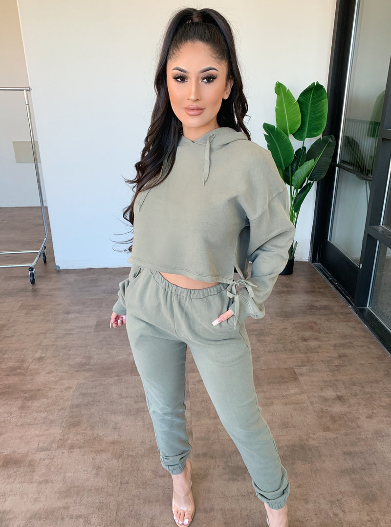 Mary Hoodie Matching Set(Olive)