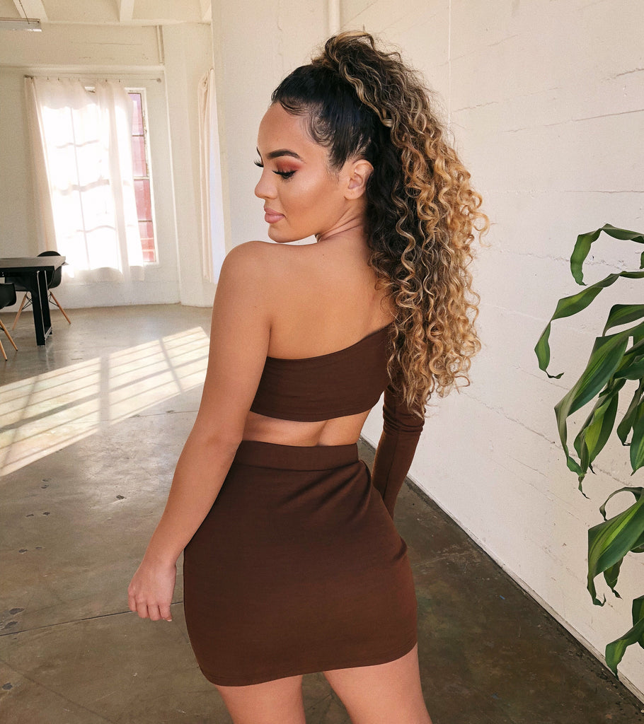Bethany One Shoulder Set(Chocolate) by Ootdfash