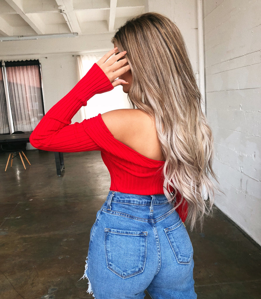 Kimmy Long Sleeve Bodysuit(Red) by Ootdfash