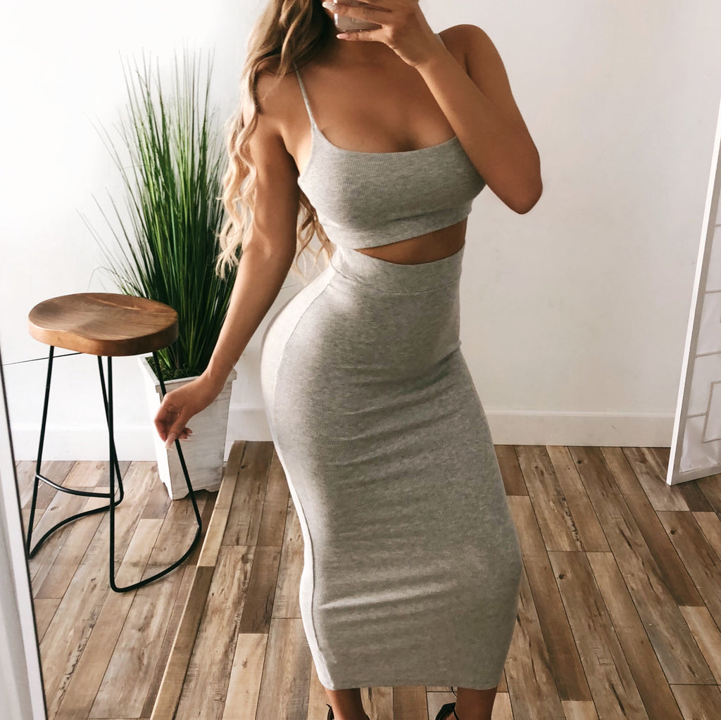 Kim Ribbed Set(Grey)