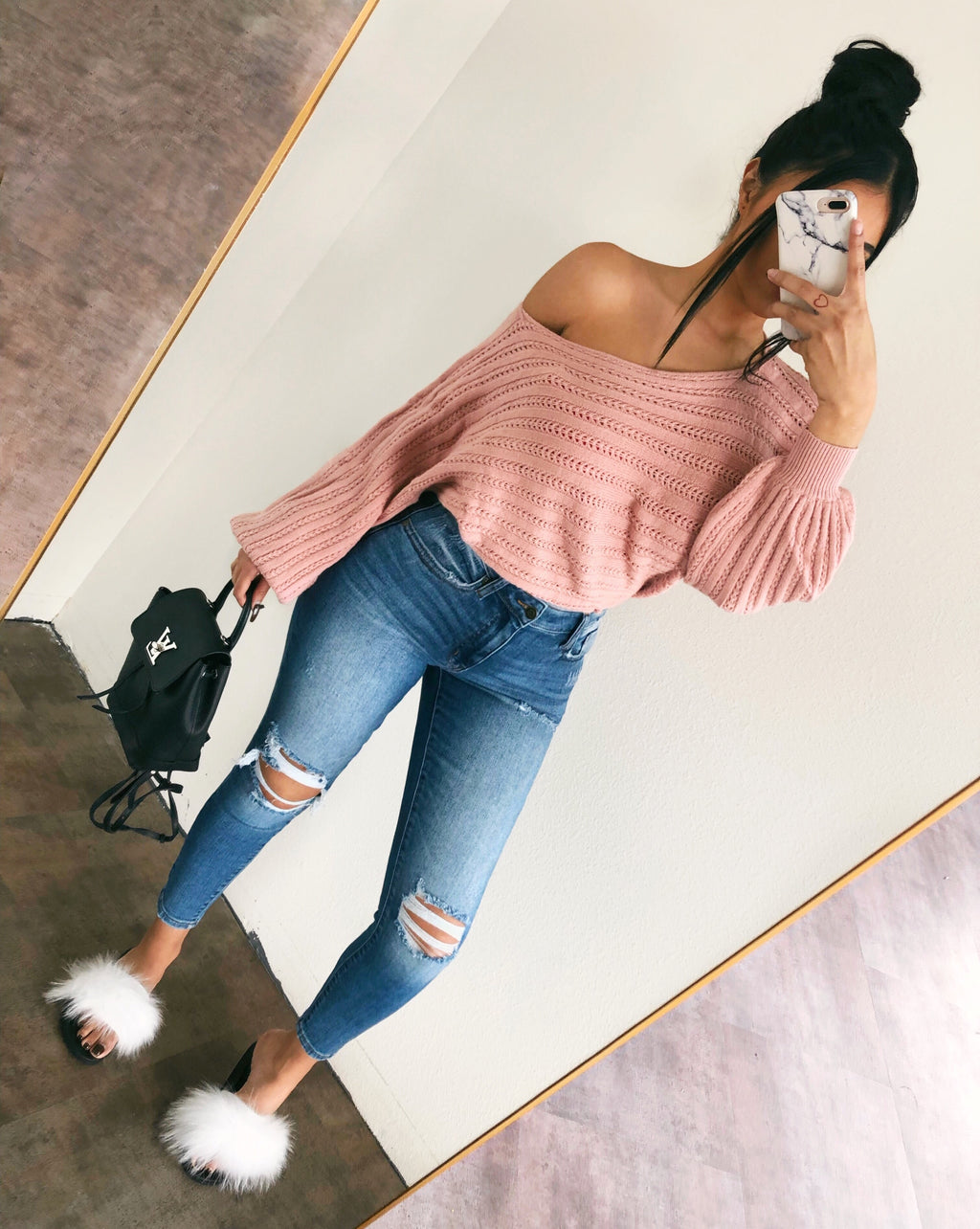 Zoey Off Shoulder Sweater(Mauve)