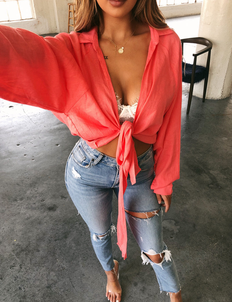 Melanie Knot Top(Coral)
