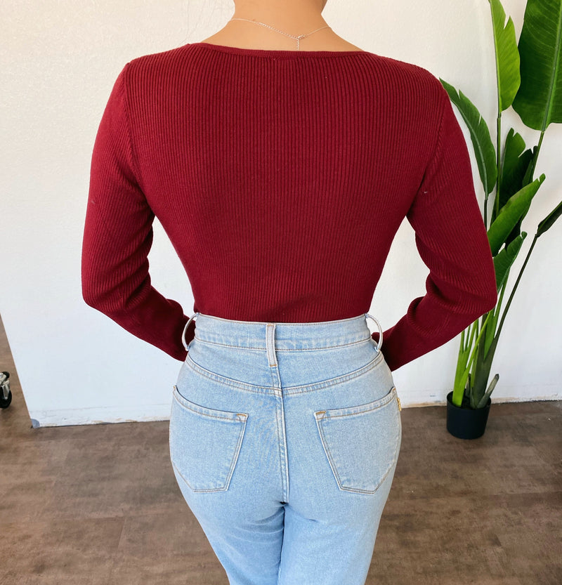 Lacey Long Sleeve Bodysuit(Burgundy)