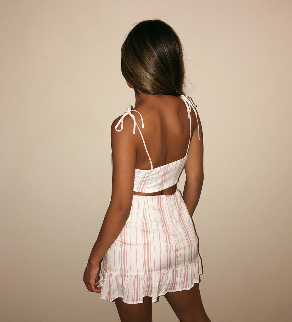 Audrey Stripe Set(White/Pink)
