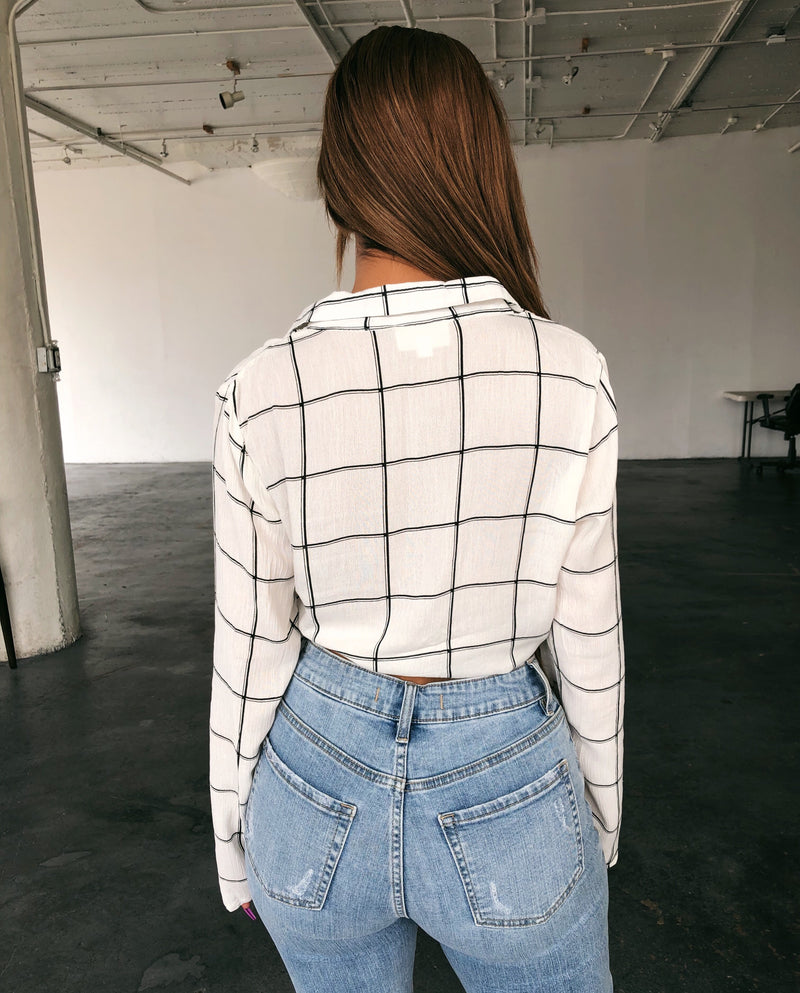 Amber Stripe Knot Top(Ivory/Black)