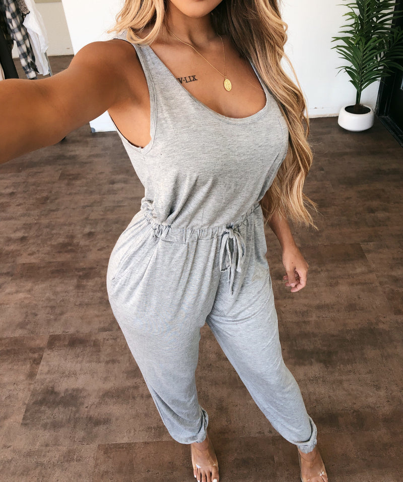 Ariel Tank Jumpsuit(Heather Grey)