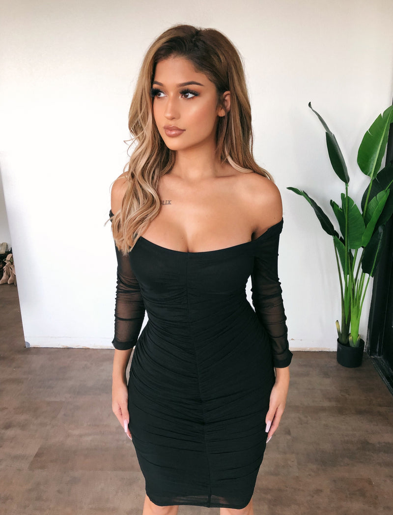 Kirsten Off Shoulder Dress(Black)