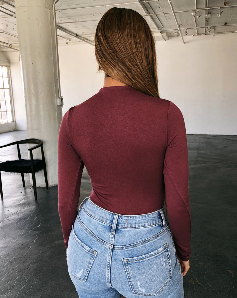 Abby Long Sleeve Bodysuit(Plum)