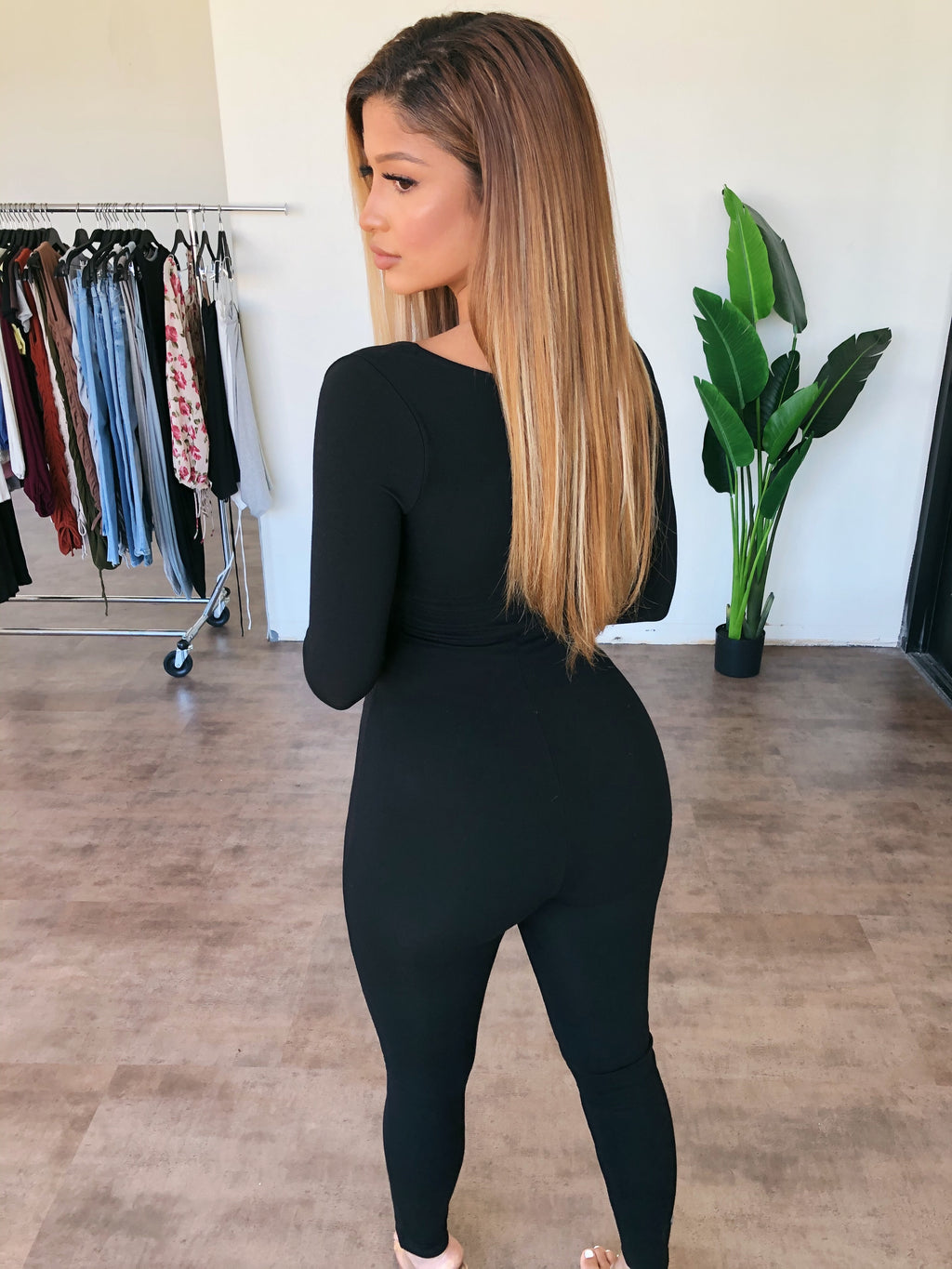 Alexa Long Sleeve Jumpsuit(Black)