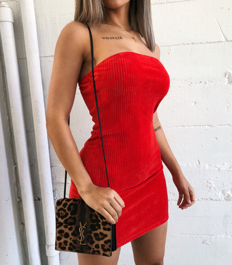 Rita Ribbed Tube Dress(Red Orange)