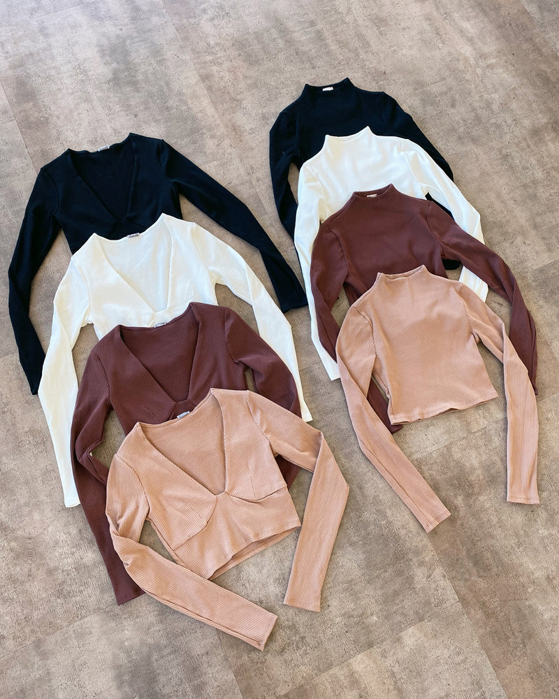 Sarah Long Sleeve Top(Chocolate)