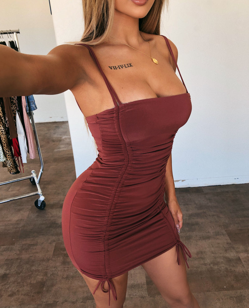 Daisy Cami Dress(Red Brown)