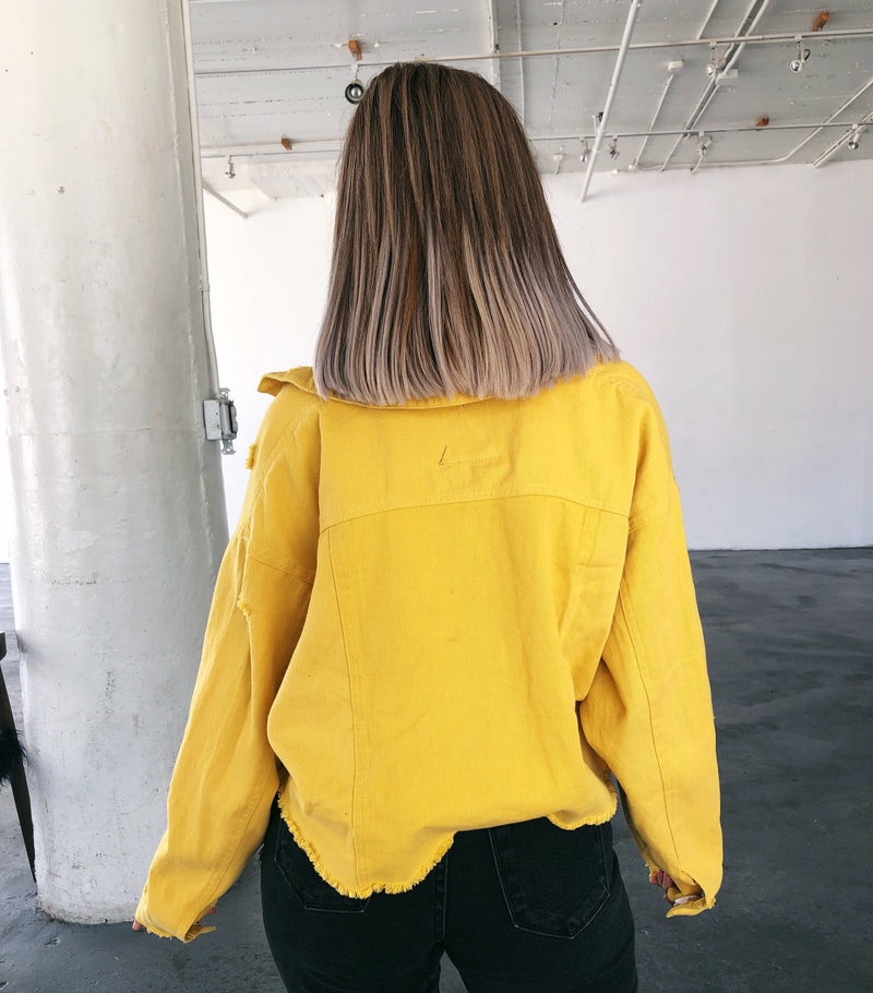 Avery Cropped Denim Jacket(Mustard)